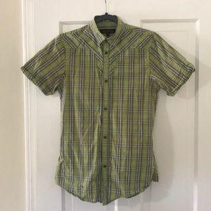 Ben Sherman short sleeve button up / lime plaid